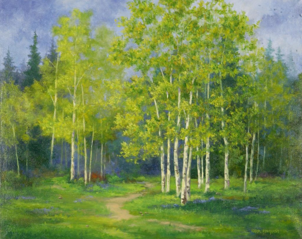 Aspen trees, spring aspens, path among the aspens.