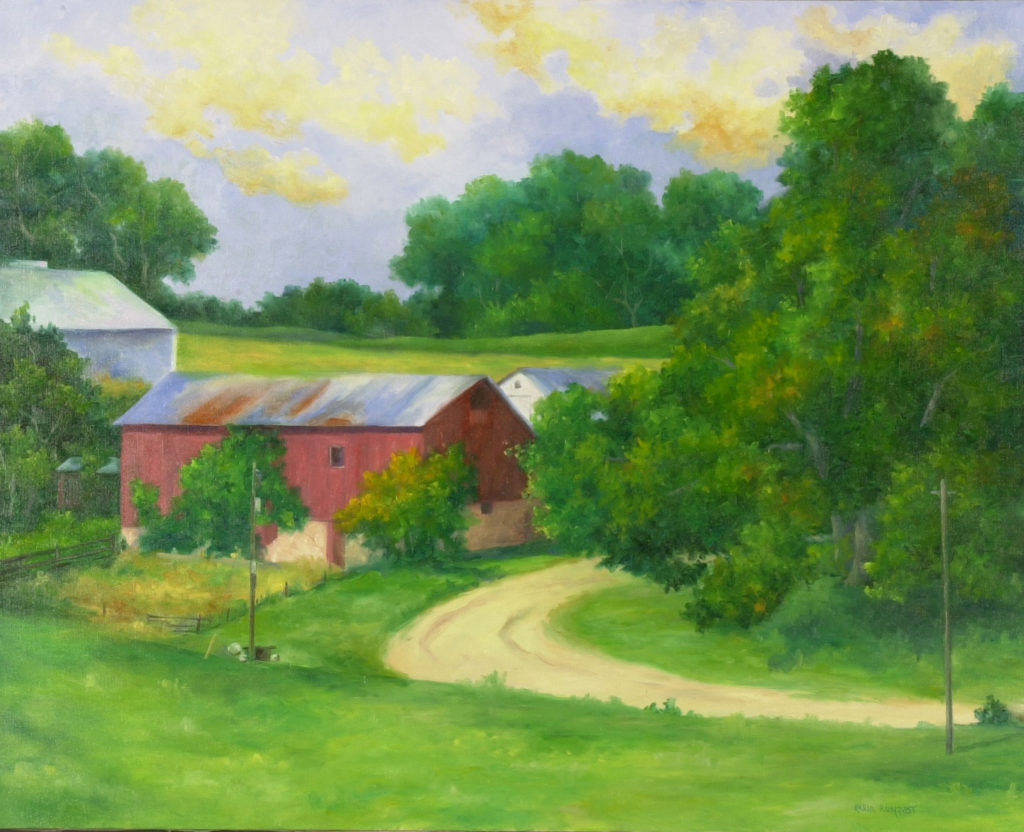 Red barn, red barn with curve in the road