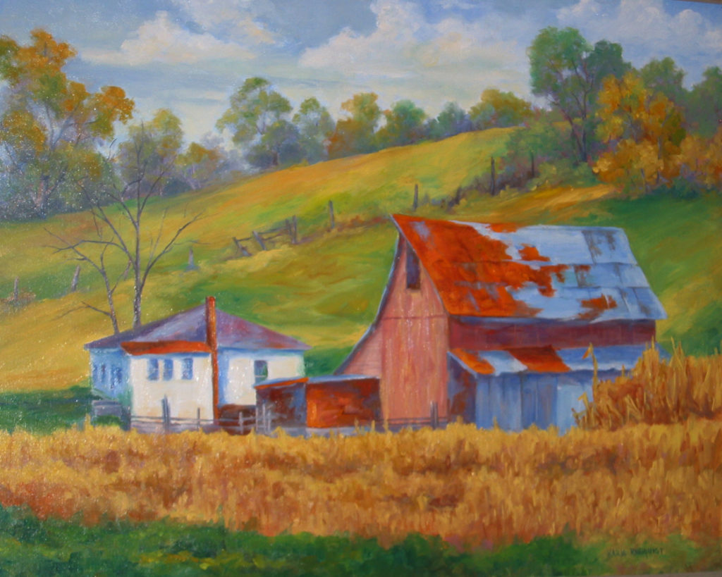 crops are out, landscape,red barn,