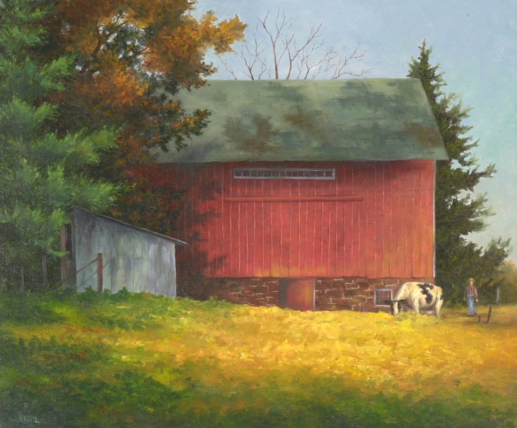 Old red barn, white shed,old white cow,