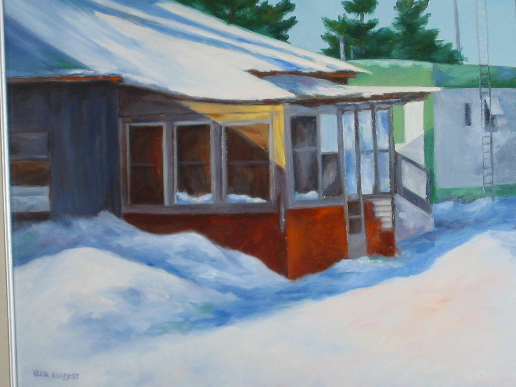 old shed in the snow snow cover