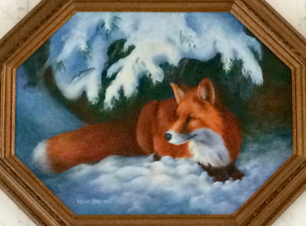 fox hiding from winter, fox in the snow